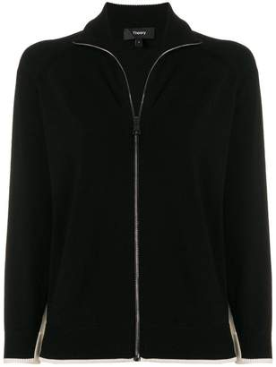 Theory contrasting panels cardigan