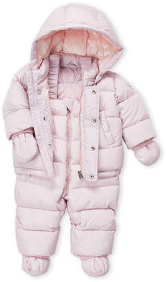 ADD Newborn/Infant Girls) Two-Piece Hooded Down Coat & Snow Bib Suit Set