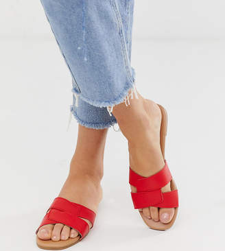 New Look cross strap slider sandal in bright red