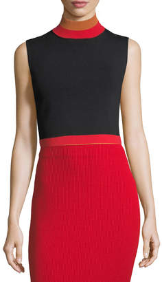 SOLACE London Sleeveless Cropped Turtleneck Rib-Knit Top