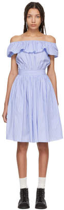 Miu Miu Blue Striped Off-the-Shoulder Dress