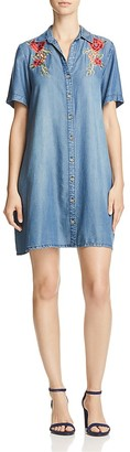 AQUA Embroidered Chambray Shirt Dress - 100% Exclusive $88 thestylecure.com