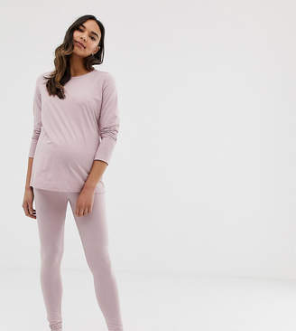 860bbbb939 at ASOS Asos DESIGN Maternity mix   match marl pyjama jersey legging