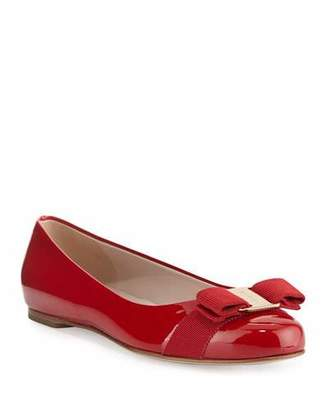 Salvatore Ferragamo Varina Patent Bow Ballet Flats, Rosso (Red)
