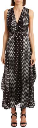 Diane von Furstenberg Sleeveless Draped V Neck Maxi Dress