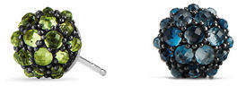 David Yurman 10mm Cable Berries Rhodolite Garnet Stud Earrings
