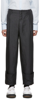 Comme des Garcons Black Shiny Twill Trousers