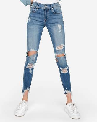 Express Mid Rise Ripped Stretch Ankle Leggings