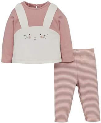 Mini V by Very Baby Girls 3d Bunny Top & Stripe Legging