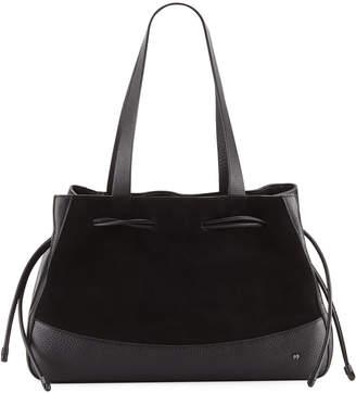 42a7e5f539d8 Halston Mixed Media Drawstring Satchel Bag