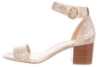 Michael Kors Embossed Ankle Strap Sandals Tan Embossed Ankle Strap Sandals