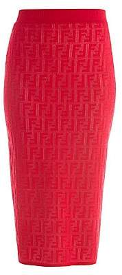 Fendi Women's FF Jacquard Logo Knit Midi Skirt