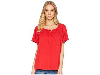 Michael Stars Rylie Rayon Button Up Peasant Top Women's Clothing
