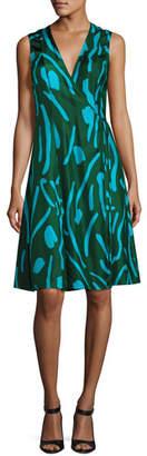 Diane von Furstenberg Sleeveless Side-Tie Flare Dress, Green Pattern