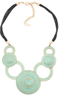 Patina Disc Necklace On Cord