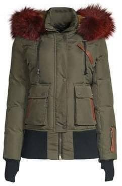Nicole Benisti Fordham Fox& Rabbit Fur-Trim Down Bomber Jacket