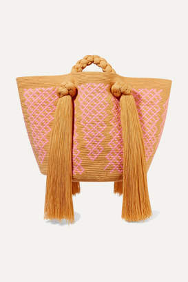 Sophie Anderson Eve Tasseled Woven Tote - Orange