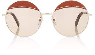 8275151950 Loewe Sunglasses Round Leather-Trimmed Metal Sunglasses