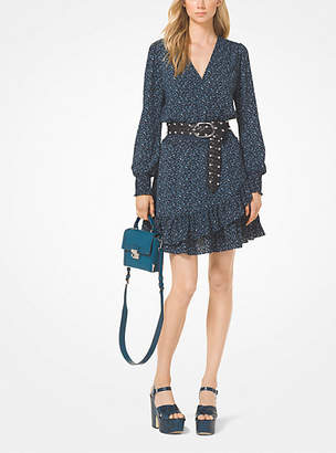 Michael Kors Tweed-Print Ruffled Crepe Dress