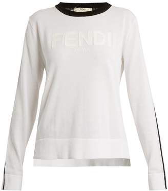 Fendi Long-sleeve crew-neck logo knit sweater