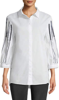 XCVI Juni Embroidered Sleeve Blouse