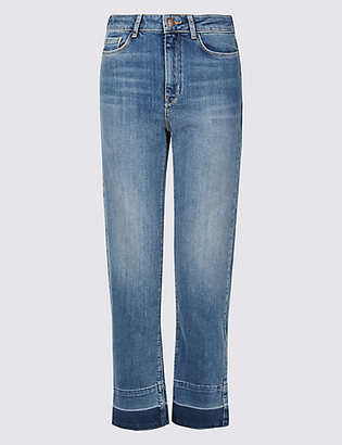 Limited Edition Drop Hem Mid Rise Straight Leg Jeans