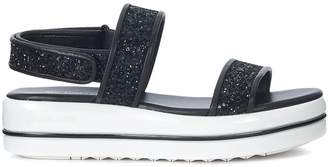 Michael Kors Peggy Black Leather And Glitter Sandal