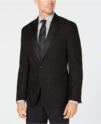 Ryan Seacrest Distinction Men Modern-Fit Stretch Black Floral Jacquard Dinner Jacket