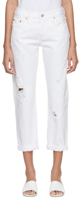 Levis White 501 Tapered Jeans