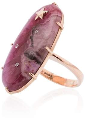 Andrea Fohrman 14K rose gold and pink Calcite Oval Diamond Ring