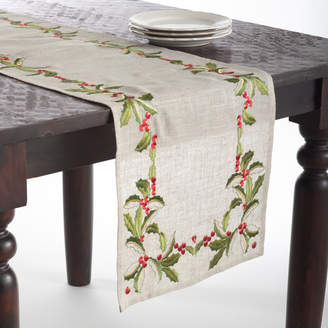 The Holiday Aisle Embroidered Holly Runner