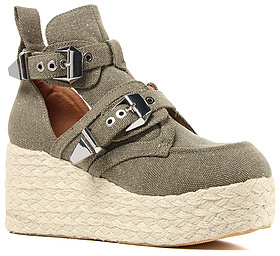 Jeffrey Campbell The Platrane Espadrille Shoe in Khaki Fabric