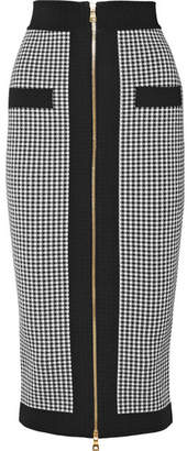 Balmain Houndstooth Stretch-knit Pencil Skirt - Black
