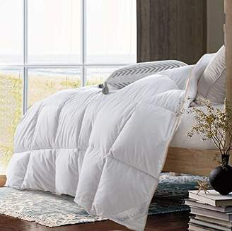 ROSECOSE Luxurious Lightweight Goose Down Comforter Queen Size Duvet Insert Solid White 1200 Thread Count 750+ Fill Power 100% Cotton Shell Hypo-allergenic Down Proof with Tabs (Queen