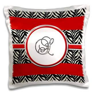 3dRose Elegant Red Black Zebra Animal Print Monogram Letter S, Pillow Case, 16 by 16-inch