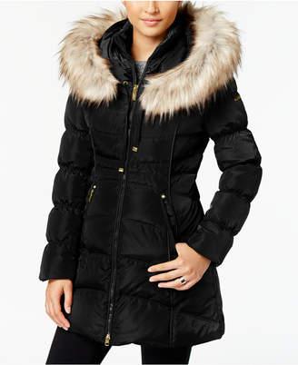 368fecb9395 ... Laundry by Shelli Segal Faux-Fur-Trim Hooded Puffer Coat