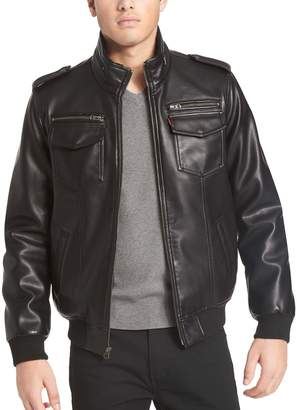 Levi's Levis Men's Sherpa-Lined Faux-Leather Aviator Bomber Jacket