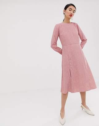 Lost Ink midi tea dress in ditsy print
