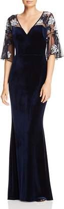 Aidan Mattox Beaded Mesh & Velvet Gown
