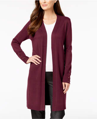 JM Collection Lace-Up-Sleeve Cardigan