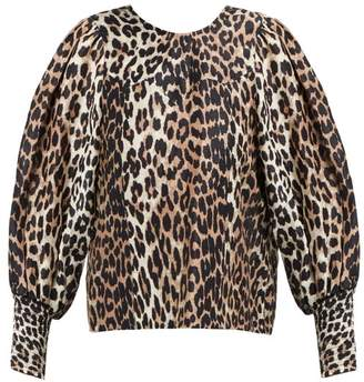 4c7f1439736 Ganni Leopard Print Tie Back Linen Blend Top - Womens - Brown Multi