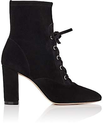 Gianvito Rossi Women's Suede Lace-Up Ankle Boots - Black
