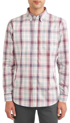 Lee Men's Long Sleeve Plaid Stretch Button Down with Chest Pocket, Available up to size 2XL