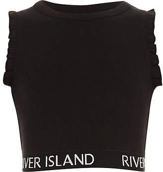 River Island Girls black RI branded ruffle crop top