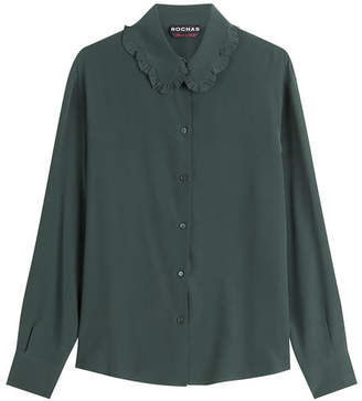 Rochas Silk Blouse with Ruffled Collar