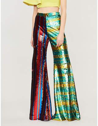 HALPERN Striped high-rise flared sequinned trousers