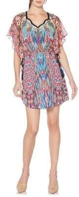 Laundry by Shelli Segal Printer Flutter-Sleeve Chiffon Dress