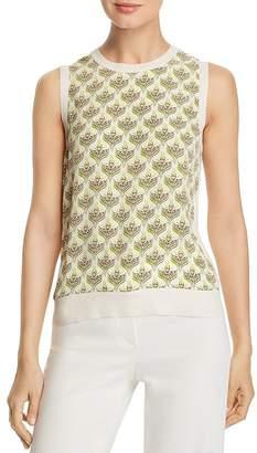 273a2f61c36459 Tory Burch Silk-Front Sleeveless Sweater