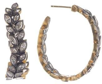 Freida Rothman 14K Gold & Black Rhodium Vermeil Fleur Bloom CZ Hoop Earrings