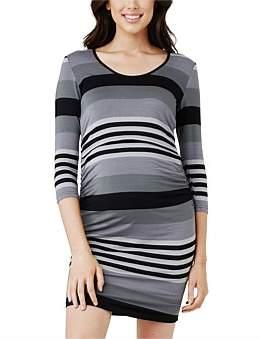 Ripe Maternity Striped Nursing Long Sleeve Tube Dress